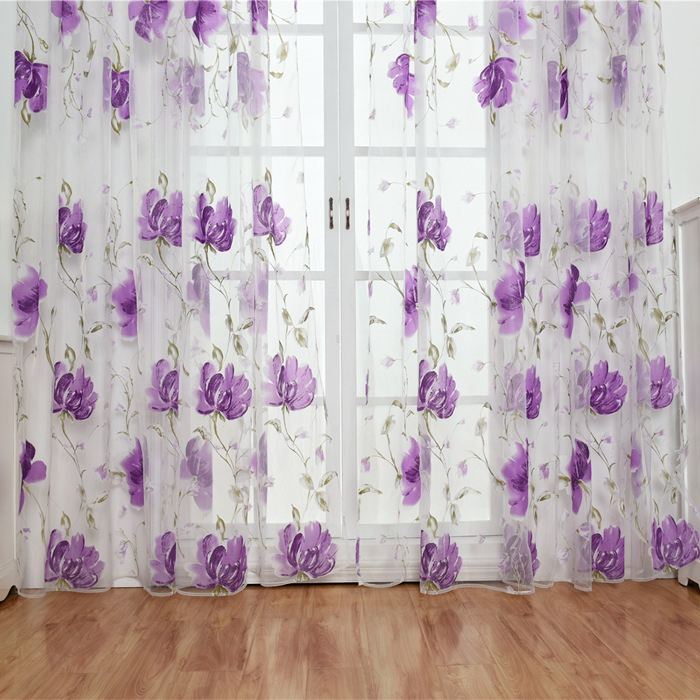 Retro-Window-Curtain-Tulle-Embroidery-Voile-Scarf-Transparent-Panel-Home-Decor thumbnail 15