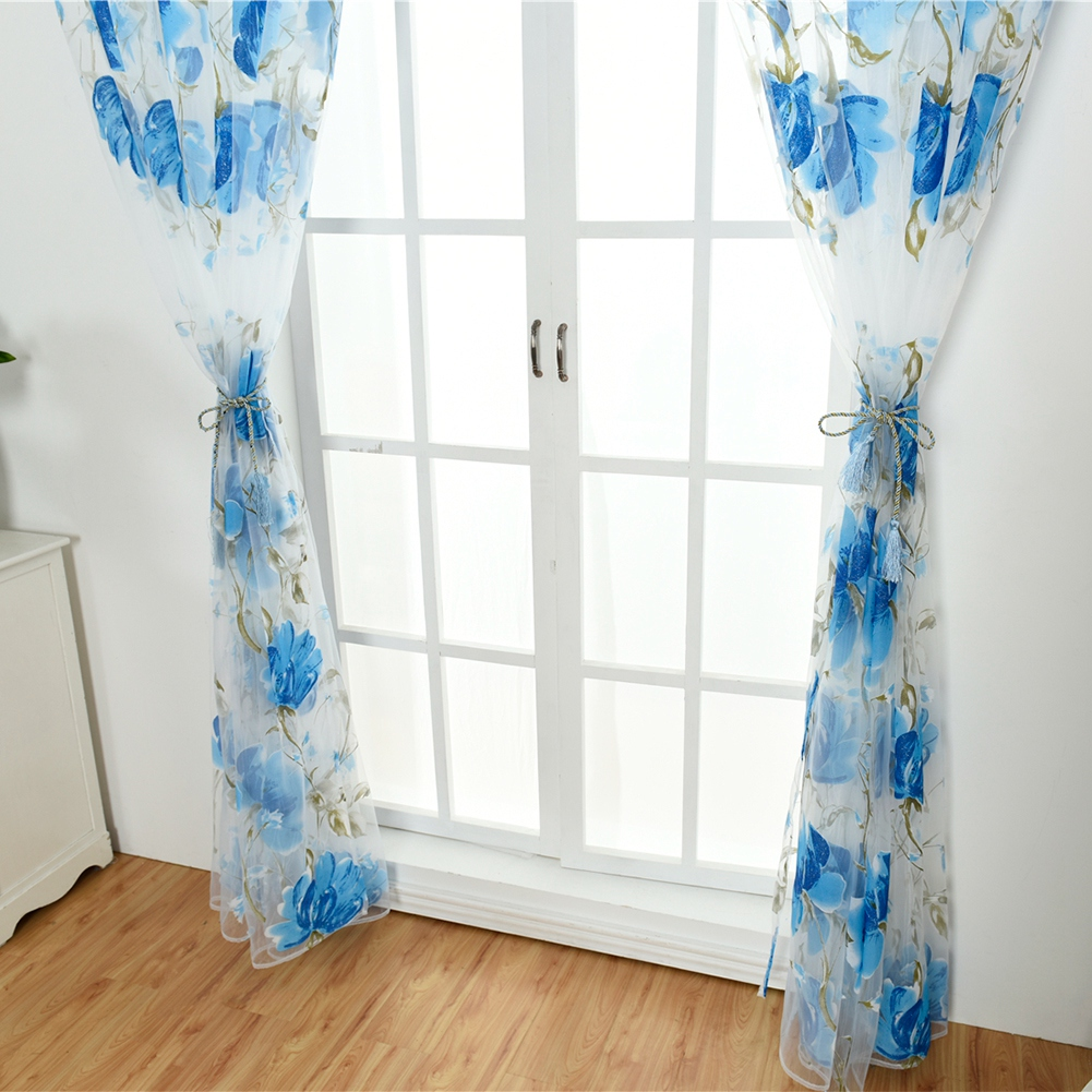 Retro-Window-Curtain-Tulle-Embroidery-Voile-Scarf-Transparent-Panel-Home-Decor thumbnail 18