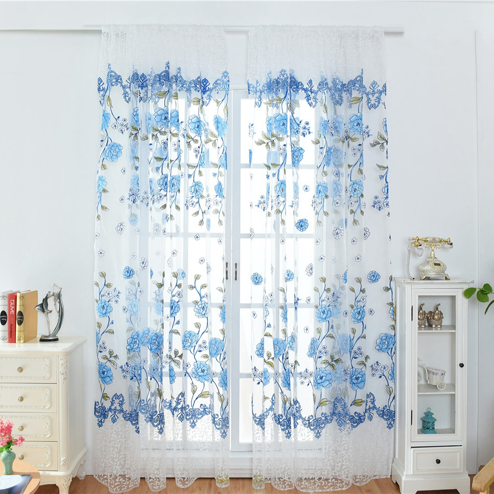Retro-Window-Curtain-Tulle-Embroidery-Voile-Scarf-Transparent-Panel-Home-Decor thumbnail 23