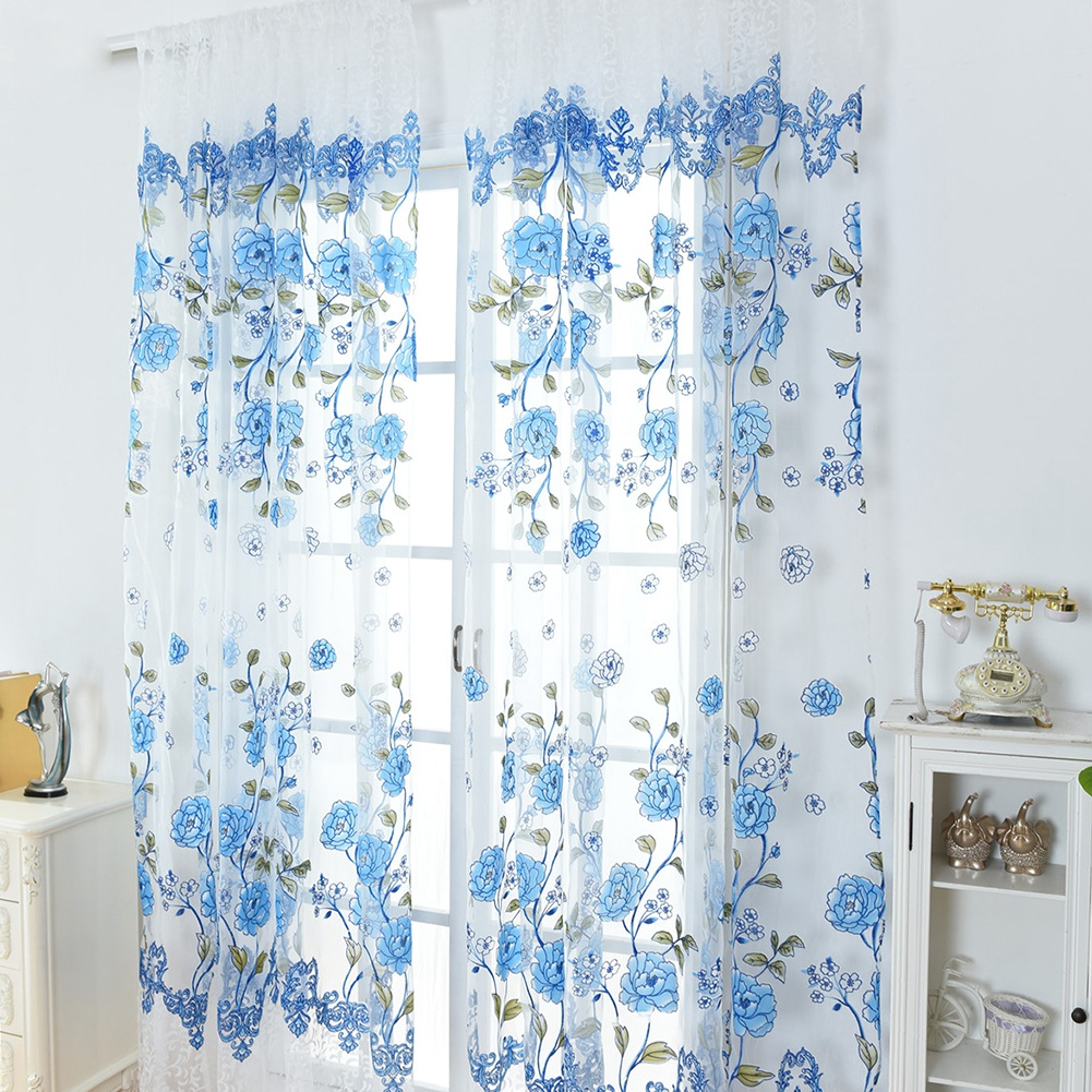 Retro-Window-Curtain-Tulle-Embroidery-Voile-Scarf-Transparent-Panel-Home-Decor thumbnail 24