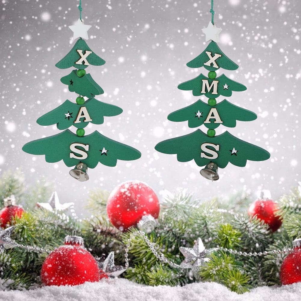 Christmas-Ornaments-Wooden-Star-Elk-Snowflakes-Pendants-For-Xmas-Tree-Home-Decor miniatura 51