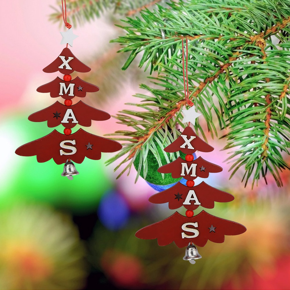 Christmas-Ornaments-Wooden-Star-Elk-Snowflakes-Pendants-For-Xmas-Tree-Home-Decor miniatura 53