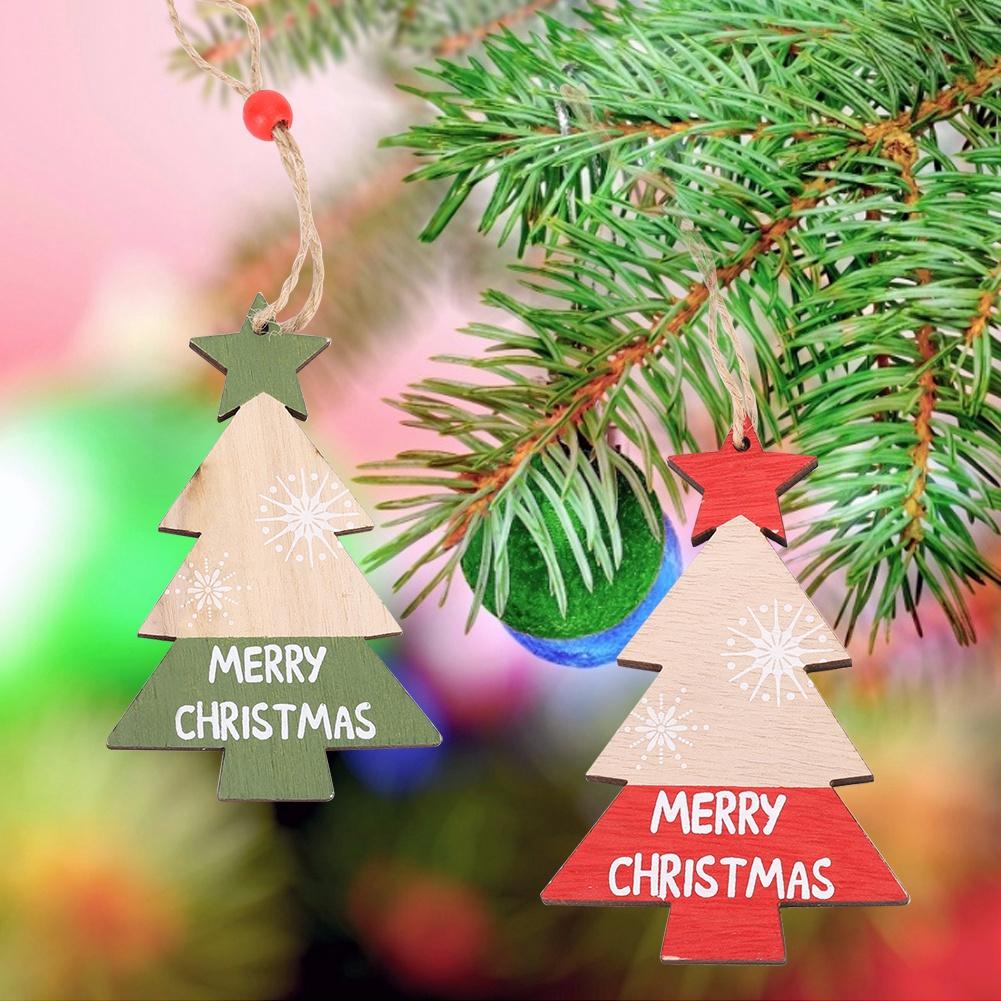 Christmas-Ornaments-Wooden-Star-Elk-Snowflakes-Pendants-For-Xmas-Tree-Home-Decor miniatura 45