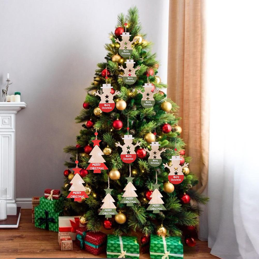 Christmas-Ornaments-Wooden-Star-Elk-Snowflakes-Pendants-For-Xmas-Tree-Home-Decor miniatura 48