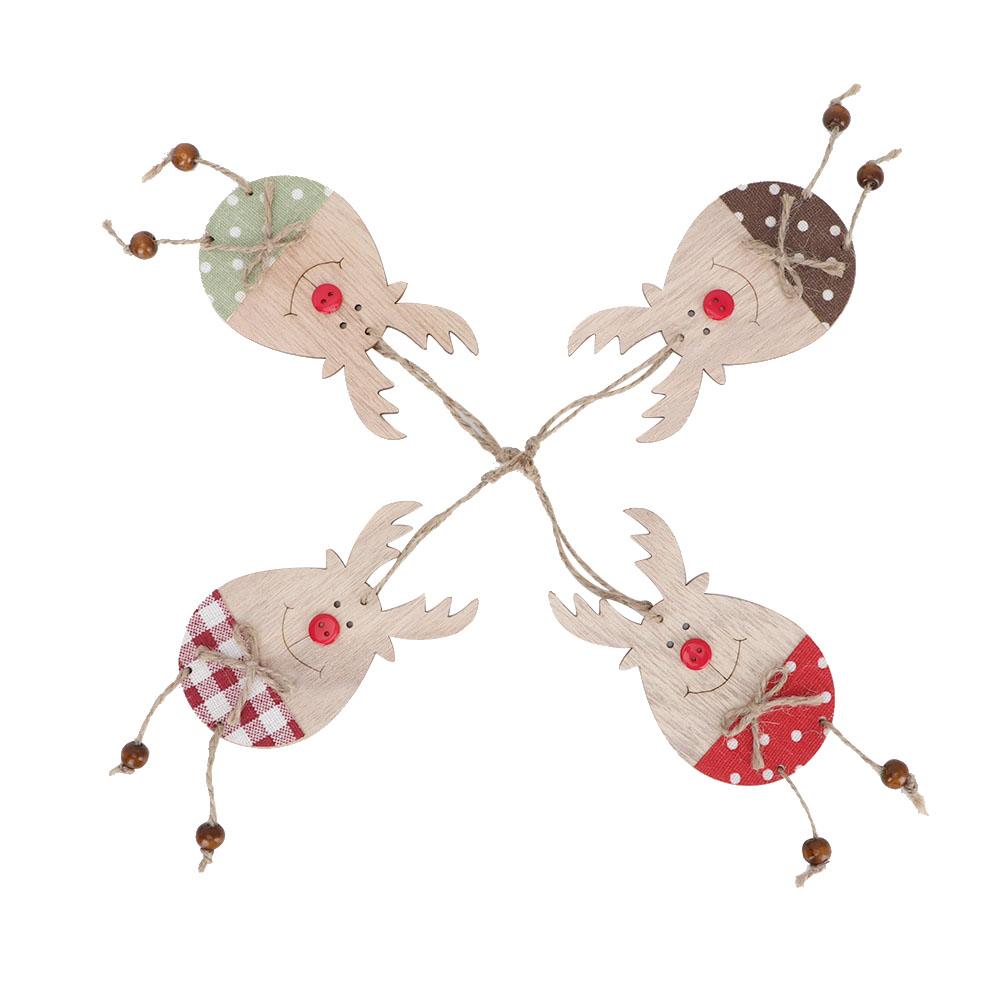 Christmas-Ornaments-Wooden-Star-Elk-Snowflakes-Pendants-For-Xmas-Tree-Home-Decor miniatura 35