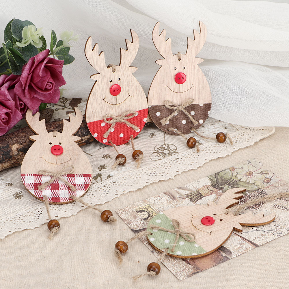 Christmas-Ornaments-Wooden-Star-Elk-Snowflakes-Pendants-For-Xmas-Tree-Home-Decor miniatura 36