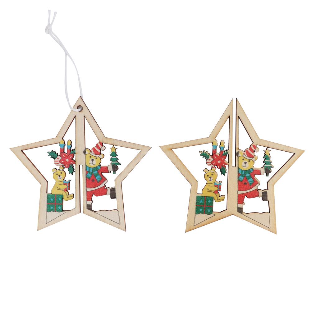 Christmas-Ornaments-Wooden-Star-Elk-Snowflakes-Pendants-For-Xmas-Tree-Home-Decor miniatura 26