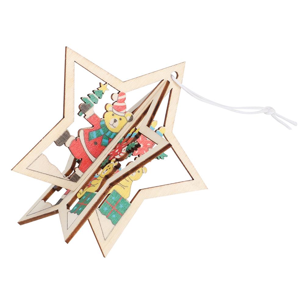 Christmas-Ornaments-Wooden-Star-Elk-Snowflakes-Pendants-For-Xmas-Tree-Home-Decor miniatura 27
