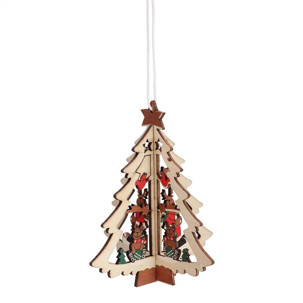 Christmas-Ornaments-Wooden-Star-Elk-Snowflakes-Pendants-For-Xmas-Tree-Home-Decor miniatura 32