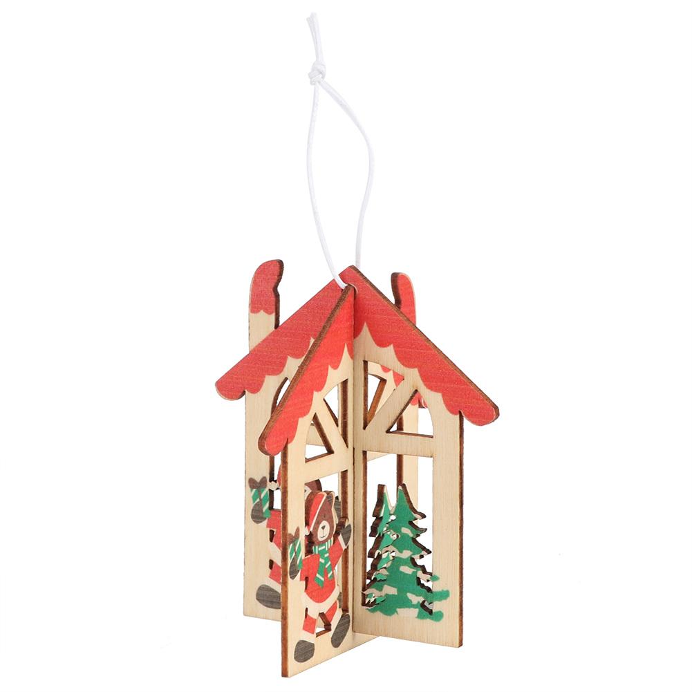 Christmas-Ornaments-Wooden-Star-Elk-Snowflakes-Pendants-For-Xmas-Tree-Home-Decor miniatura 14