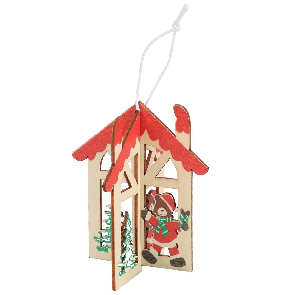 Christmas-Ornaments-Wooden-Star-Elk-Snowflakes-Pendants-For-Xmas-Tree-Home-Decor miniatura 15