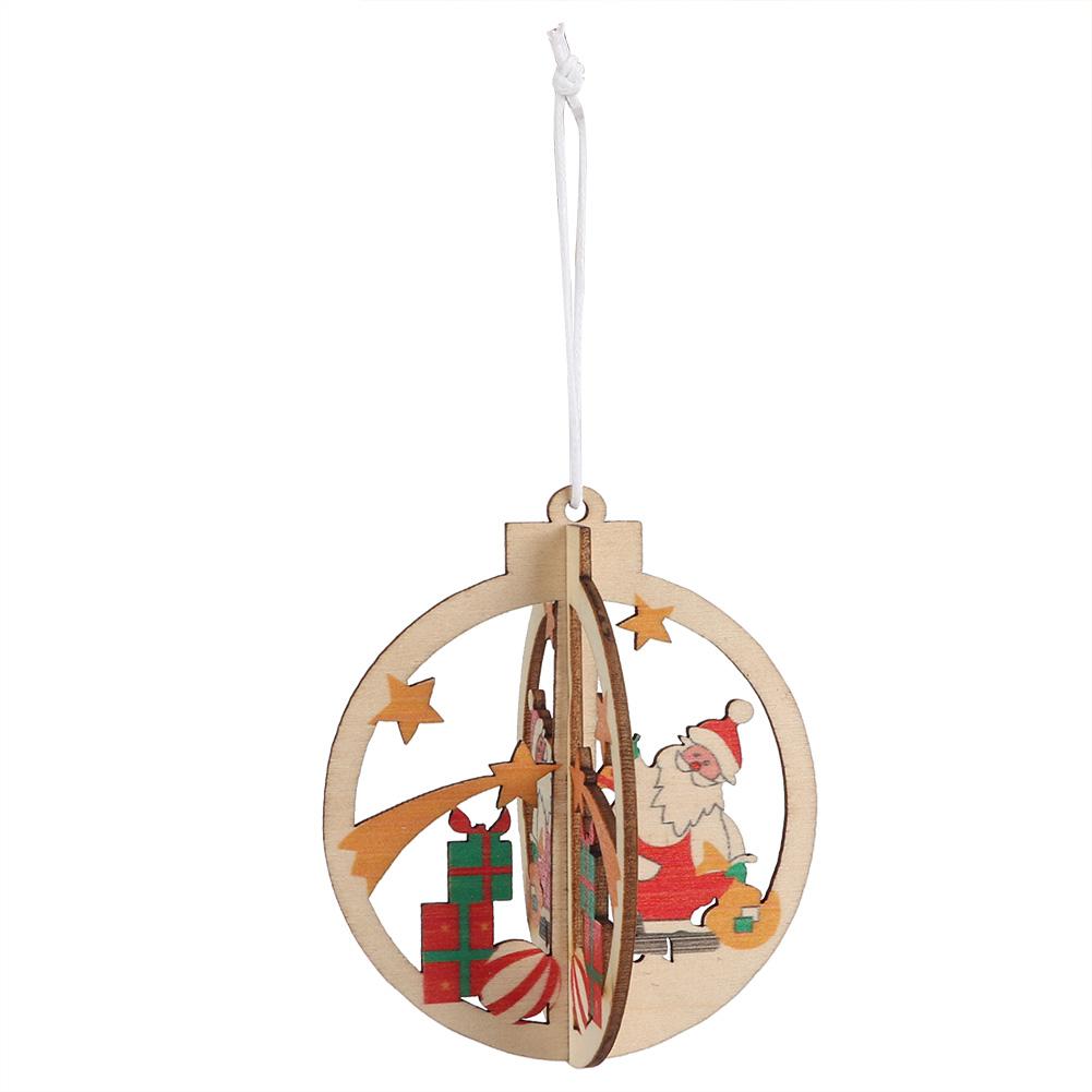 Christmas-Ornaments-Wooden-Star-Elk-Snowflakes-Pendants-For-Xmas-Tree-Home-Decor miniatura 18