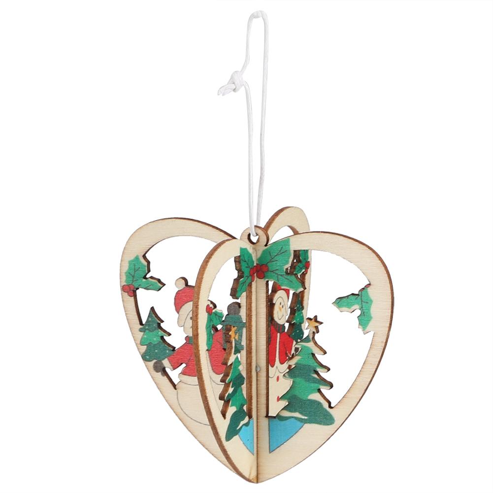 Christmas-Ornaments-Wooden-Star-Elk-Snowflakes-Pendants-For-Xmas-Tree-Home-Decor miniatura 23