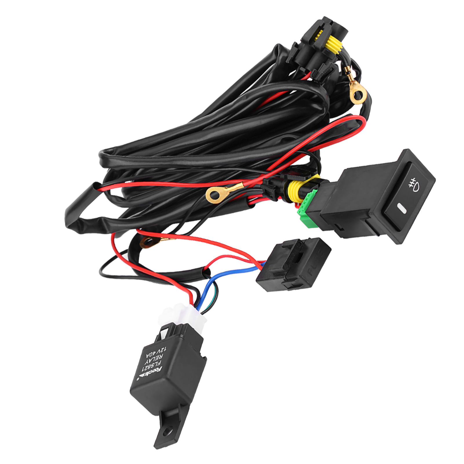 12V Universal Car LED Fog Light On/Off Switch Wiring Harness Fuse Relay Kit  EL