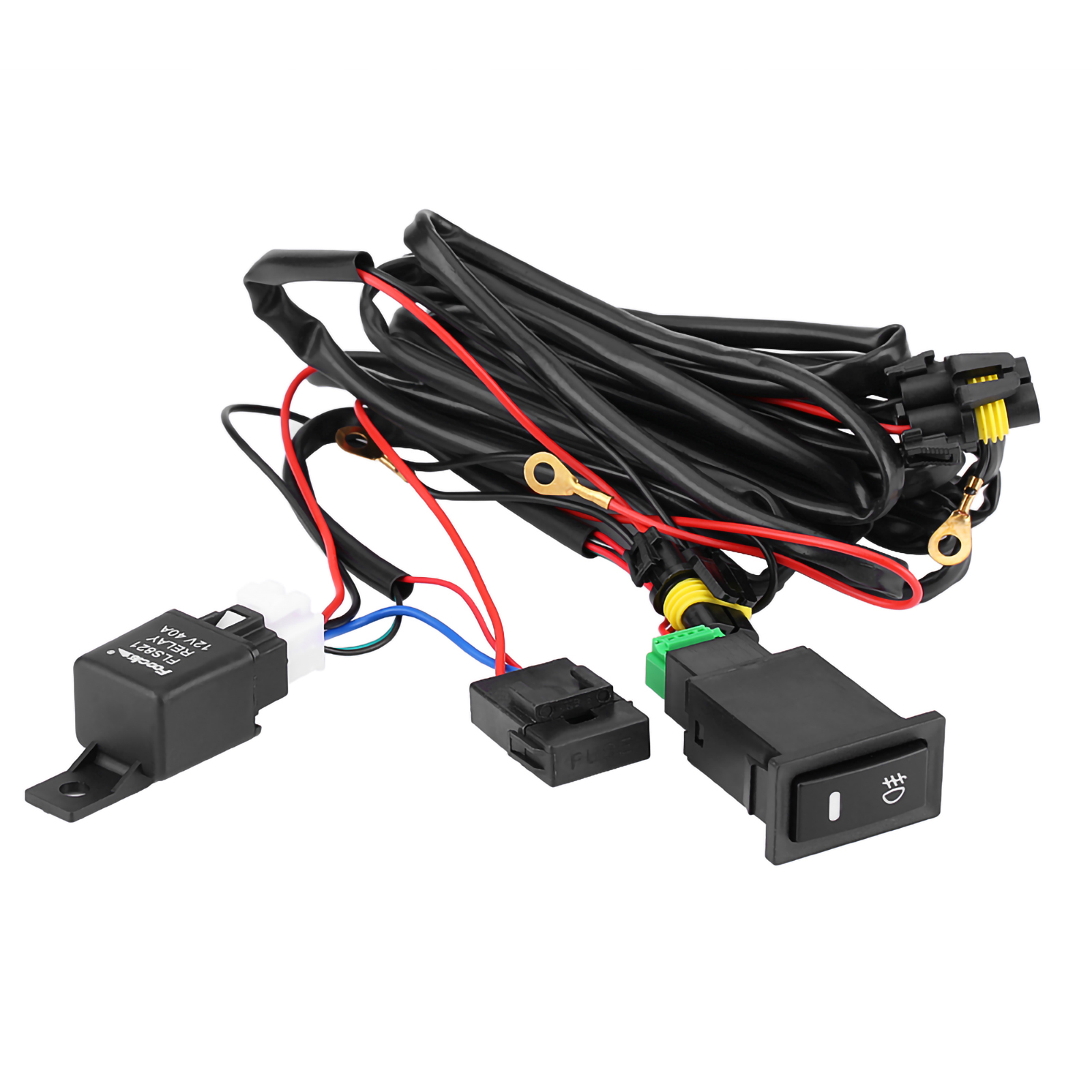 12V UNIVERSAL CAR LED Fog Light On/Off Switch Wiring Harness Fuse ...