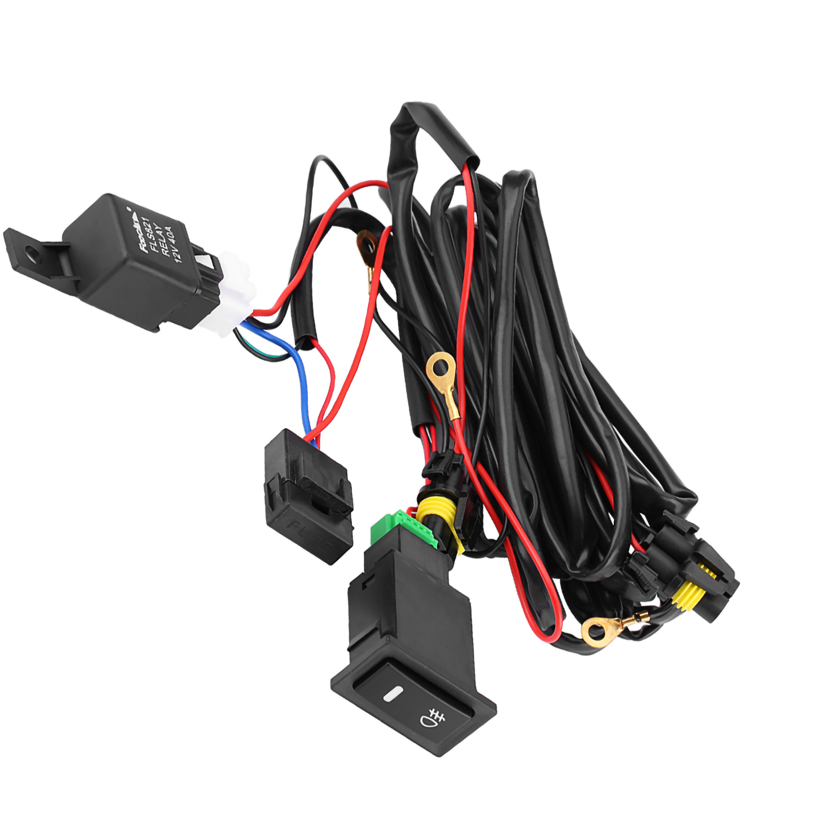 12v Universal Car Led Fog Light On Off Switch Wiring Harness Fuse 9 Of 11 Relay Kit El