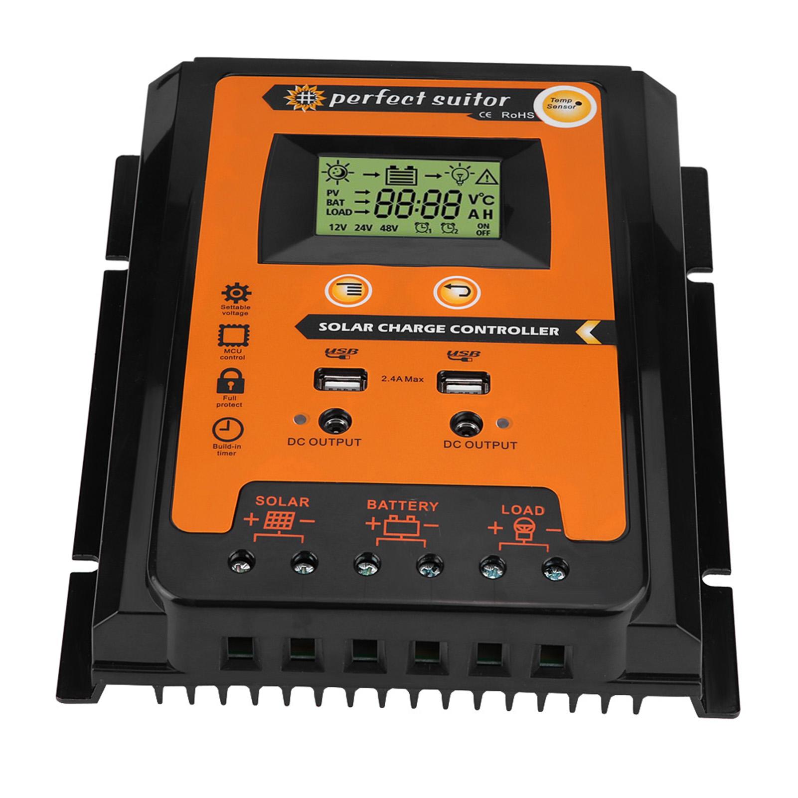 12V-24V-70A-MPPT-Regolatore-Di-Carica-Solare-LCD-Dual-USB-Batteria-Controller miniatura 16