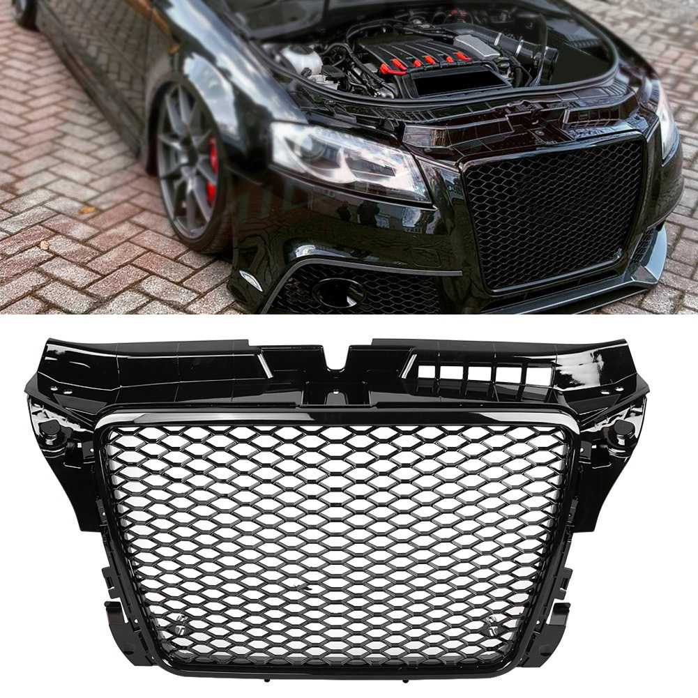 RS3 Style Front Hex Mesh Honeycomb Grill Gloss Black For