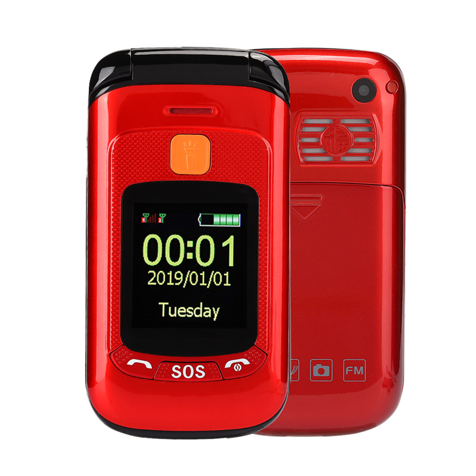 F899Full-Voice-Assistance-Touch-Screen-Flip-Mobile-Phone-2800mAh-Dual-Card-Phone miniature 2
