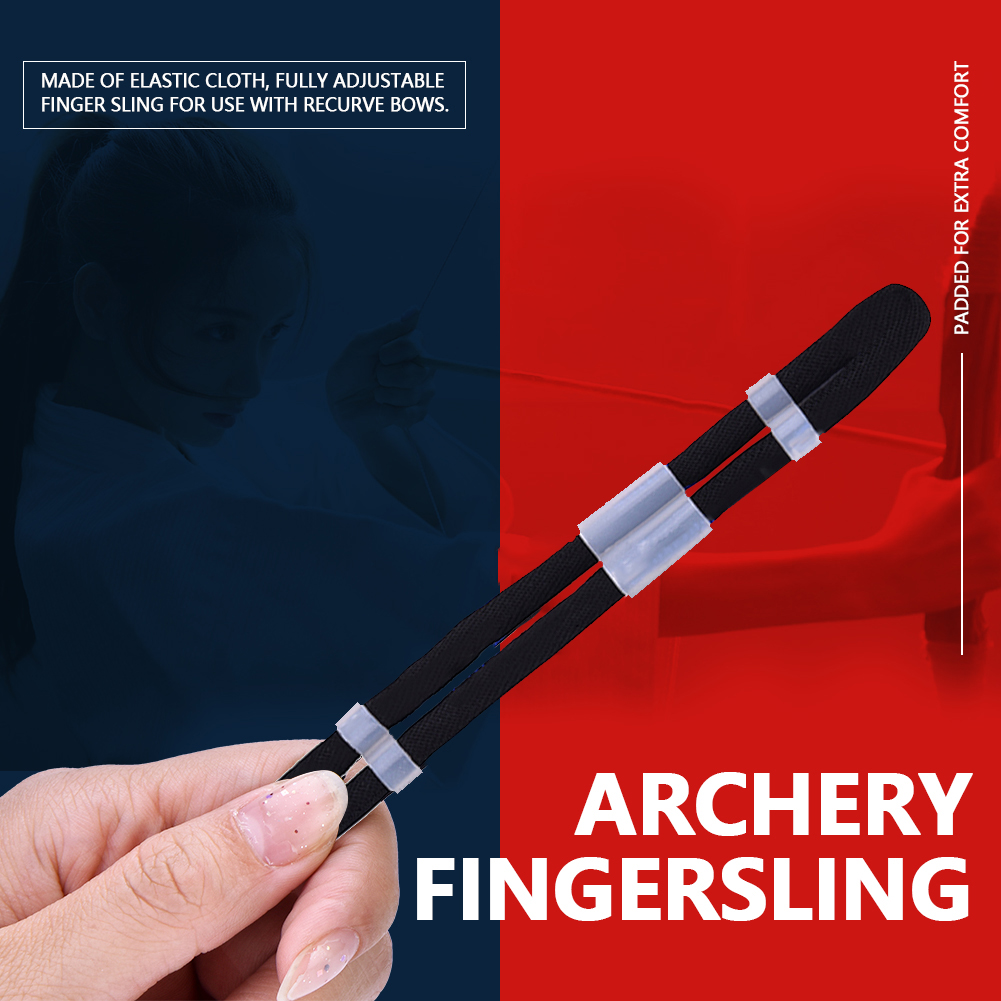 Archery-Finger-Sling-Adjustable-Elastic-Cloth-for-Recurve-Bow-Hunting-New-SD