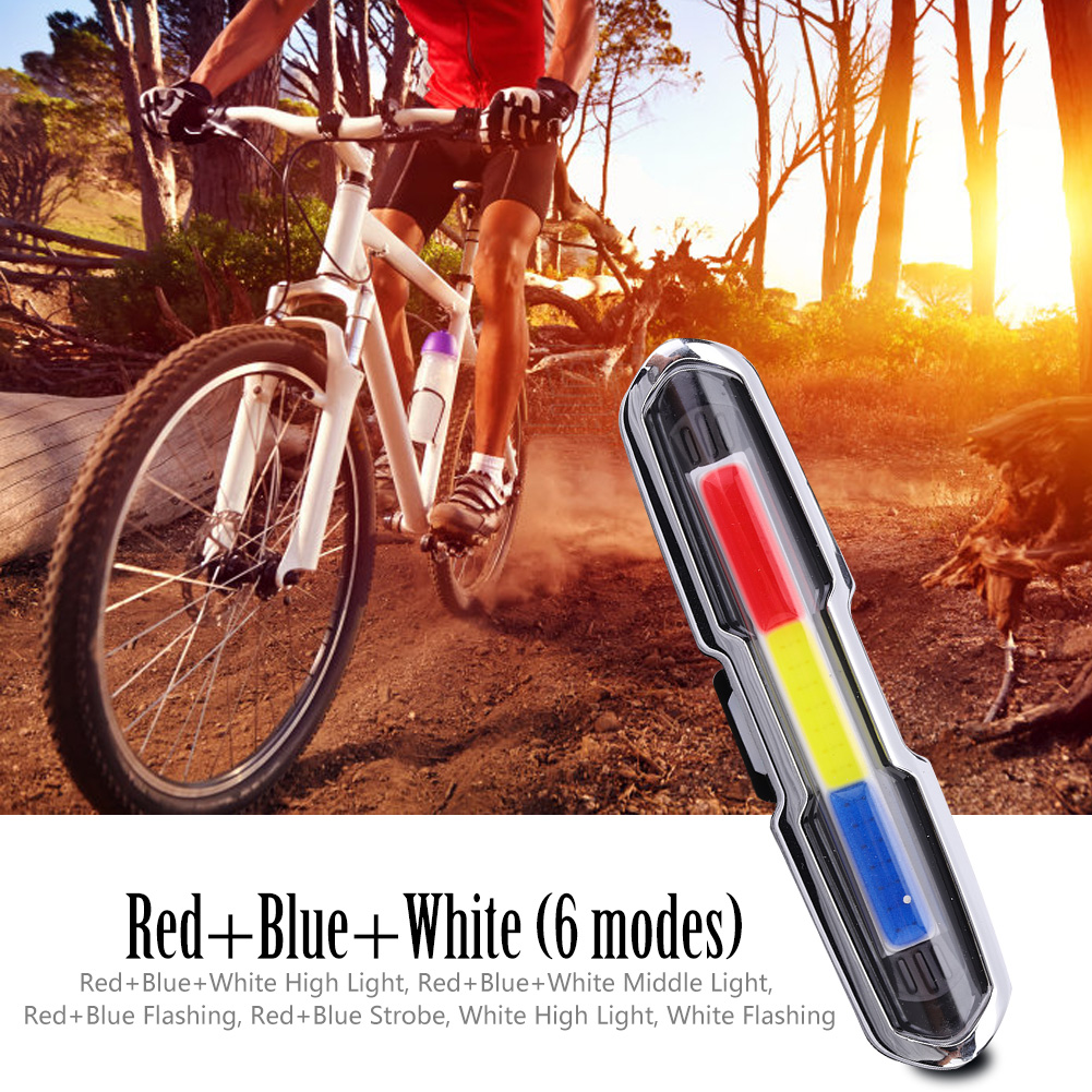 USB-Rechargeable-LED-Bike-Tail-Light-Bicycle-Safety-Cycling-Warning-Rear-Lamp miniatura 6
