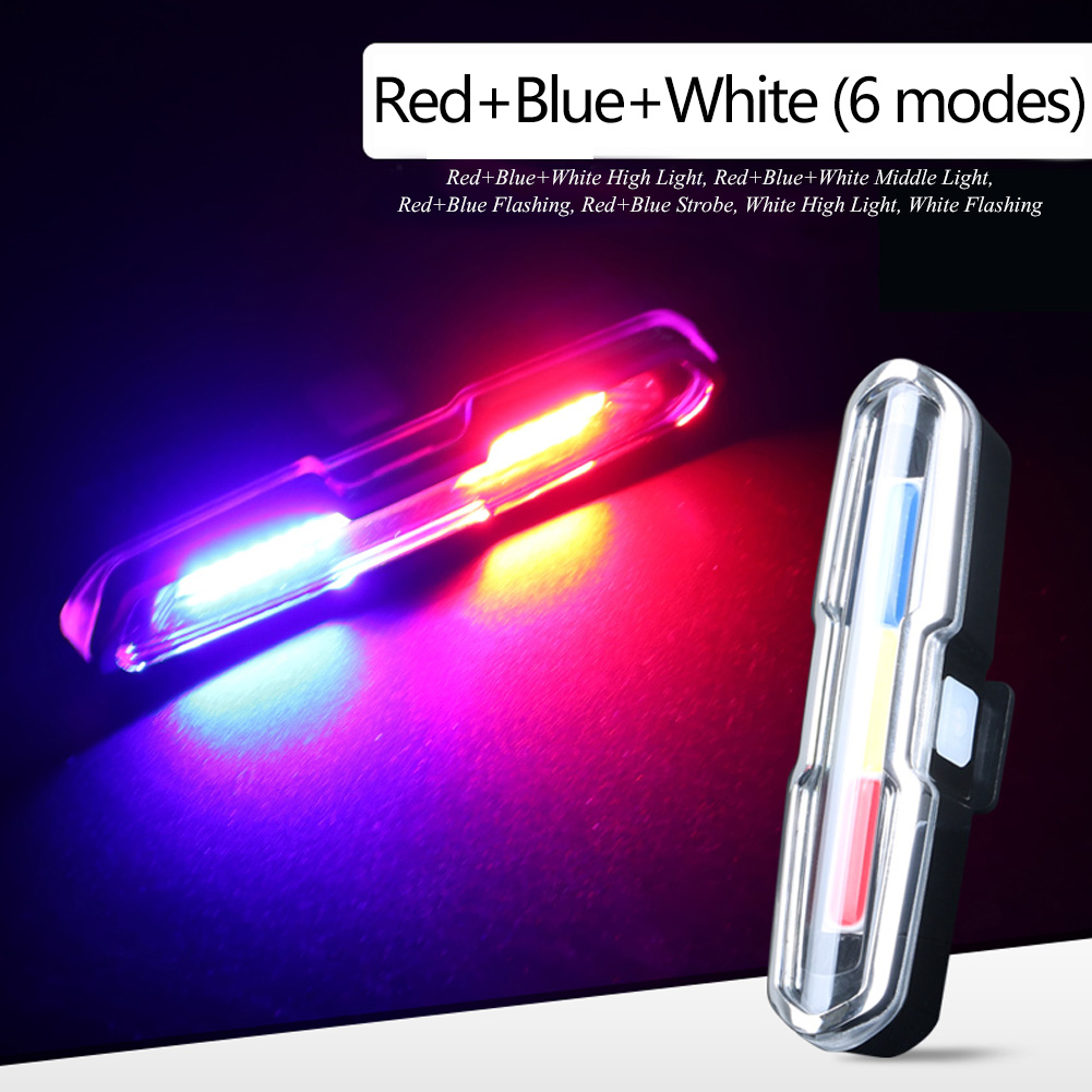 USB-Rechargeable-LED-Bike-Tail-Light-Bicycle-Safety-Cycling-Warning-Rear-Lamp miniatura 7