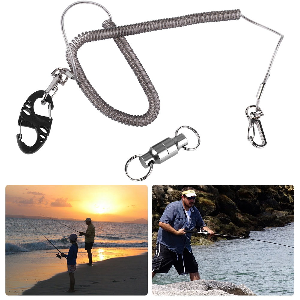 Fly-Fishing-Lanyard-Retractable-Coiled-Rope-Net-Quick-Release-Holder-Buckle-DY thumbnail 14