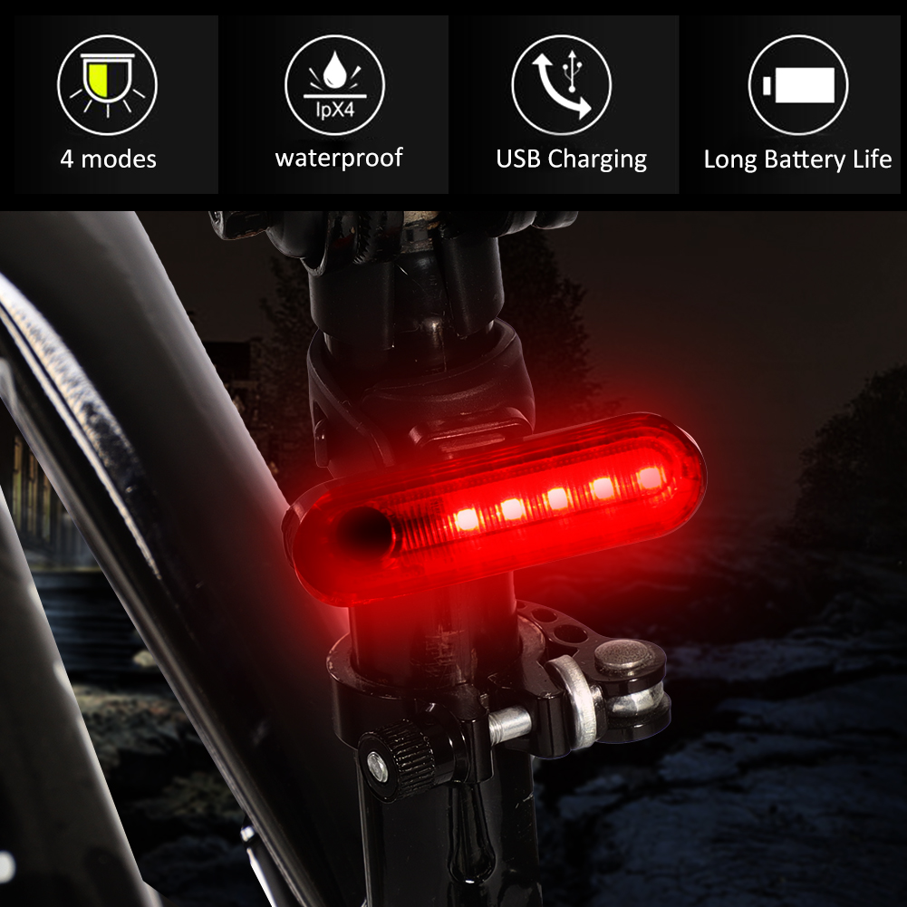 COB-LED-Bicycle-Bike-Cycling-Rear-Tail-Light-USB-Rechargeable-4-Modes-Lamp-ZH miniature 12