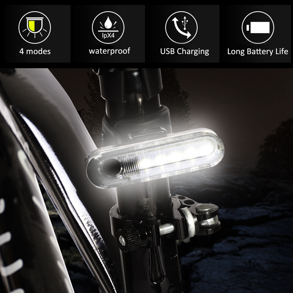 COB-LED-Bicycle-Bike-Cycling-Rear-Tail-Light-USB-Rechargeable-4-Modes-Lamp-ZH miniature 15