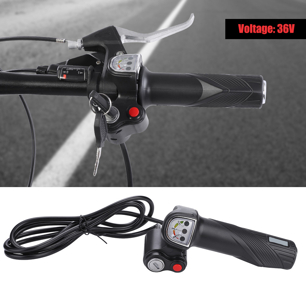 Electric-Bicycle-E-bike-Twist-Throttle-Grips-LED-Battery-Level-36v-48v-Switch thumbnail 14