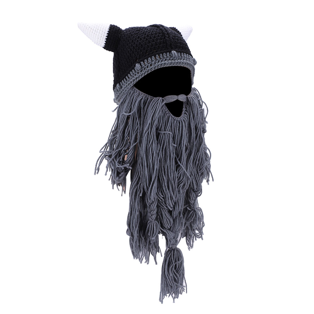 d066d7b126f Detachable Funny Handmade Knit Long Beard Beanie Viking Horn Hat ...