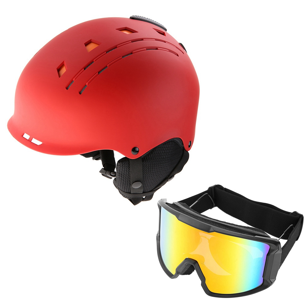 Ski-Snowboard-Helmet-With-Visor-Goggles-Outdoor-Sports-Adjustable-Head-Protector thumbnail 72