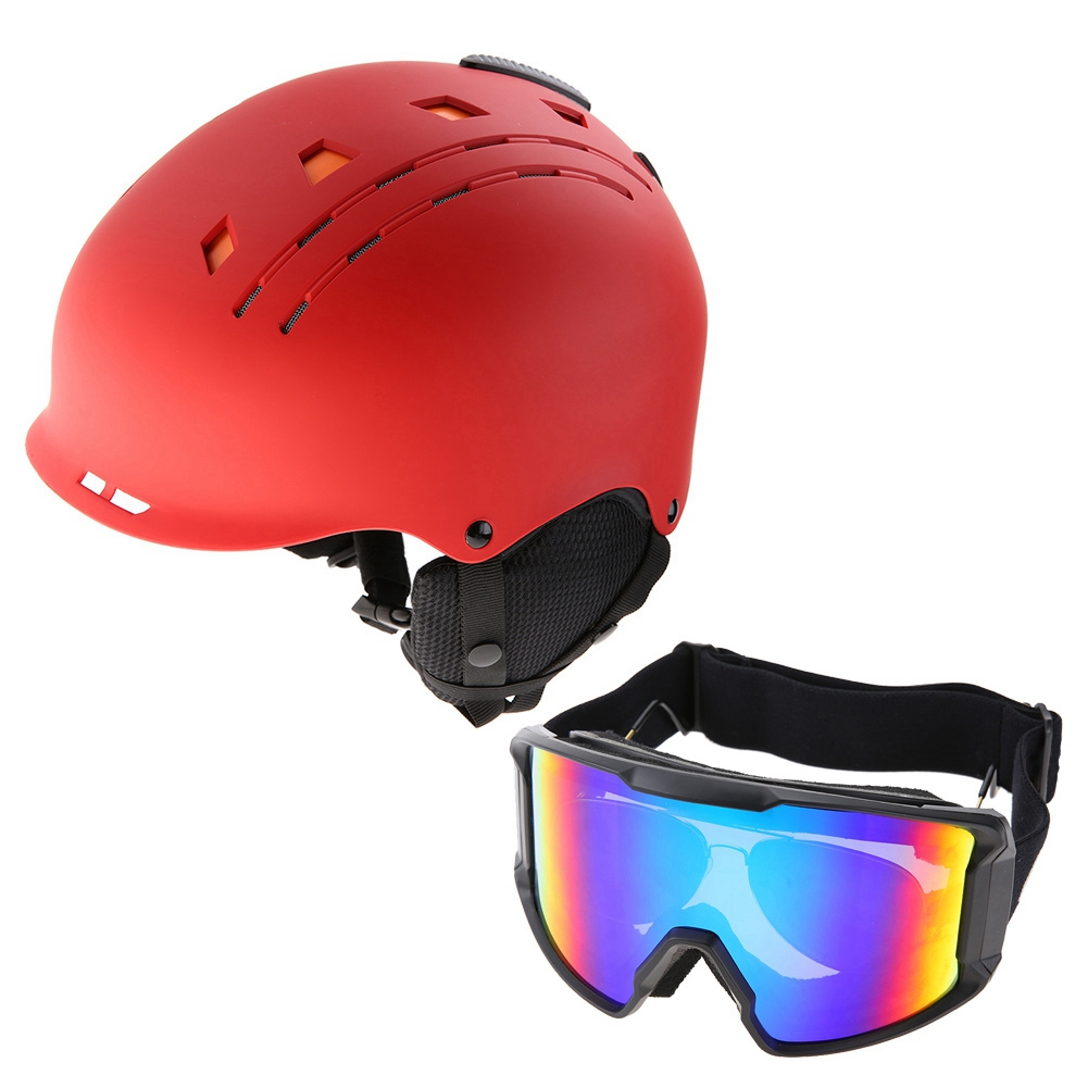 Ski-Snowboard-Helmet-With-Visor-Goggles-Outdoor-Sports-Adjustable-Head-Protector thumbnail 75