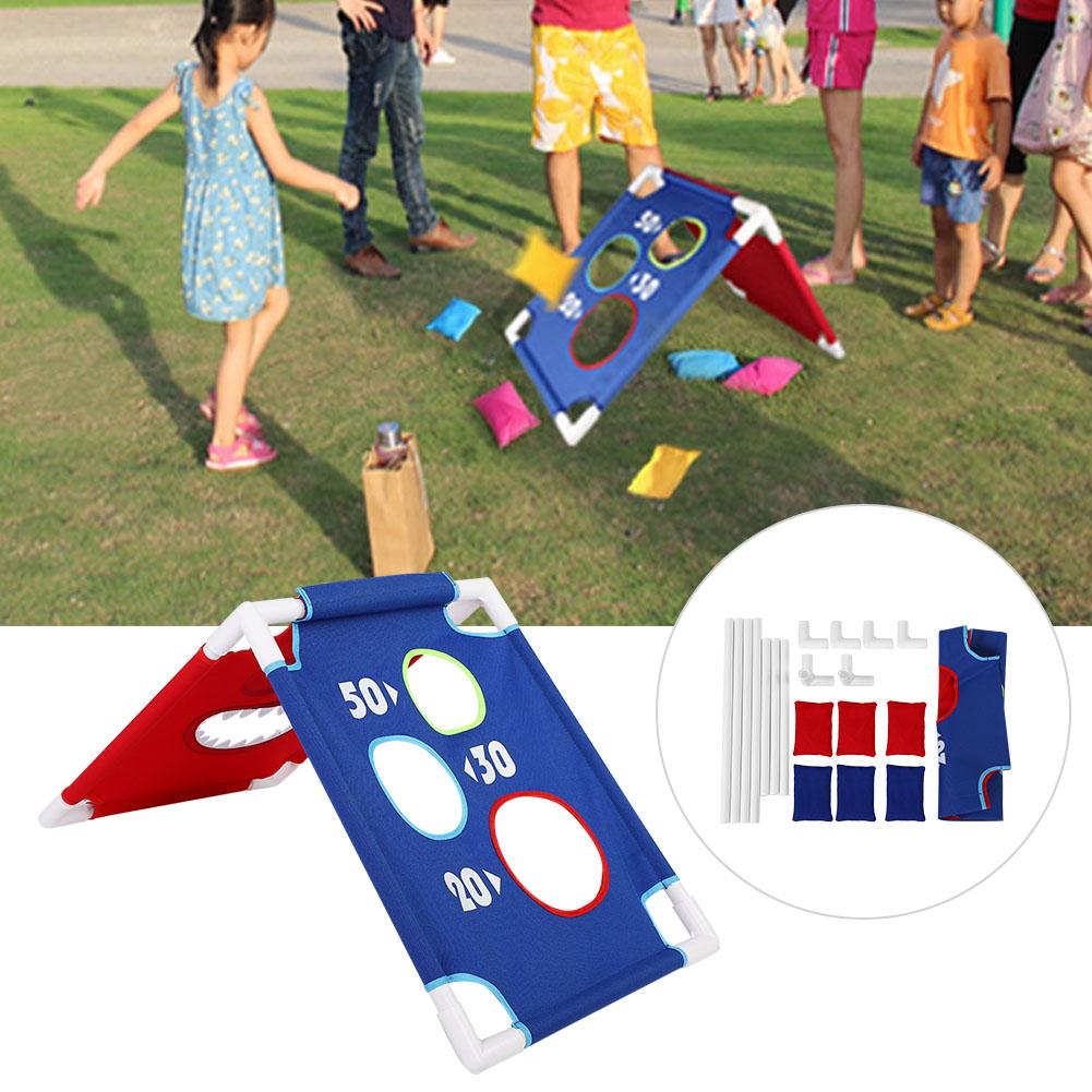 Kids Portable Bean Bag Toss Cornhole Game Board Set of 1 Board and 6 Beanbags