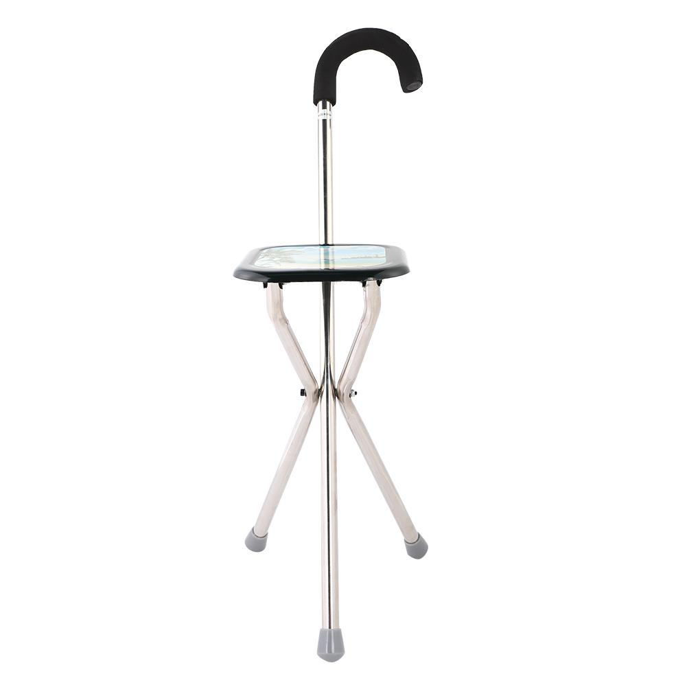 Portable Metal Folding Chair Walking Stick Seat Tripod