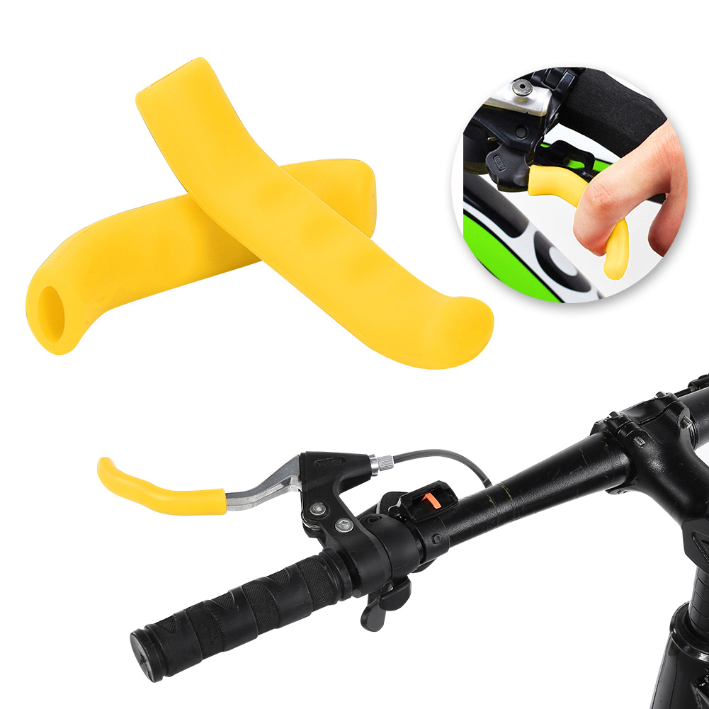 BIKE YELLOW HANDLEBAR GRIPS AND BRAKE COVERS LEVERS CITY ROAD CYCLE VINTAGE PAIR