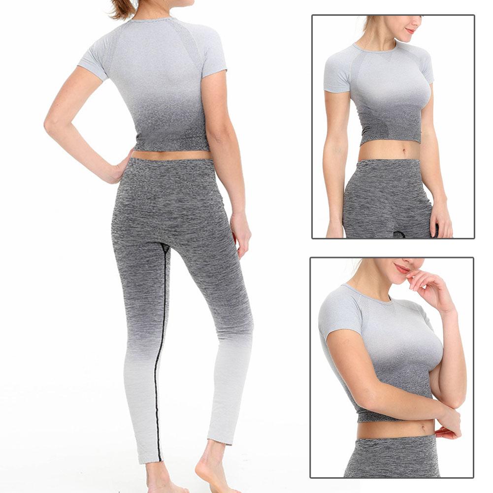 Femmes-a-manches-courtes-T-shirt-Gym-Sport-Entrainement-Yoga-Crop-Tops-Fitness-Running-SP miniature 14