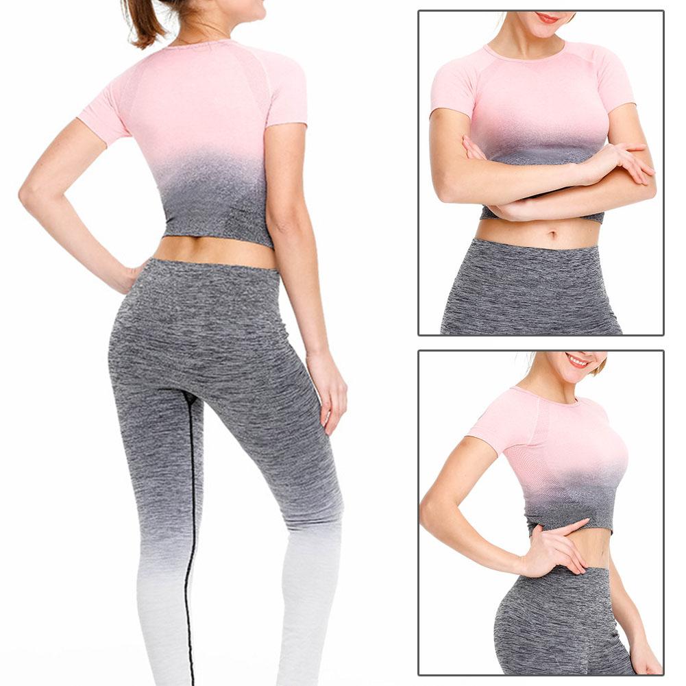 Femmes-a-manches-courtes-T-shirt-Gym-Sport-Entrainement-Yoga-Crop-Tops-Fitness-Running-SP miniature 32