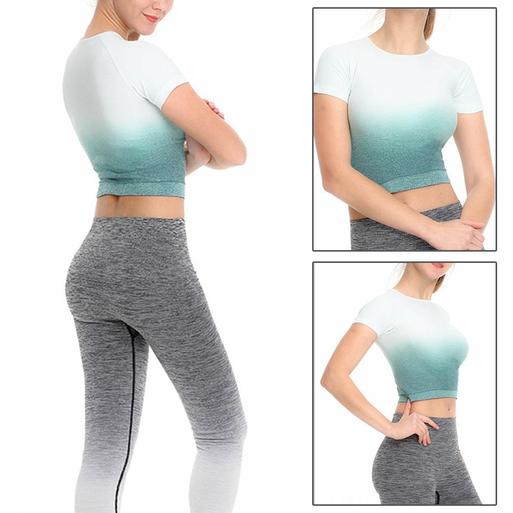 Femmes-a-manches-courtes-T-shirt-Gym-Sport-Entrainement-Yoga-Crop-Tops-Fitness-Running-SP miniature 38