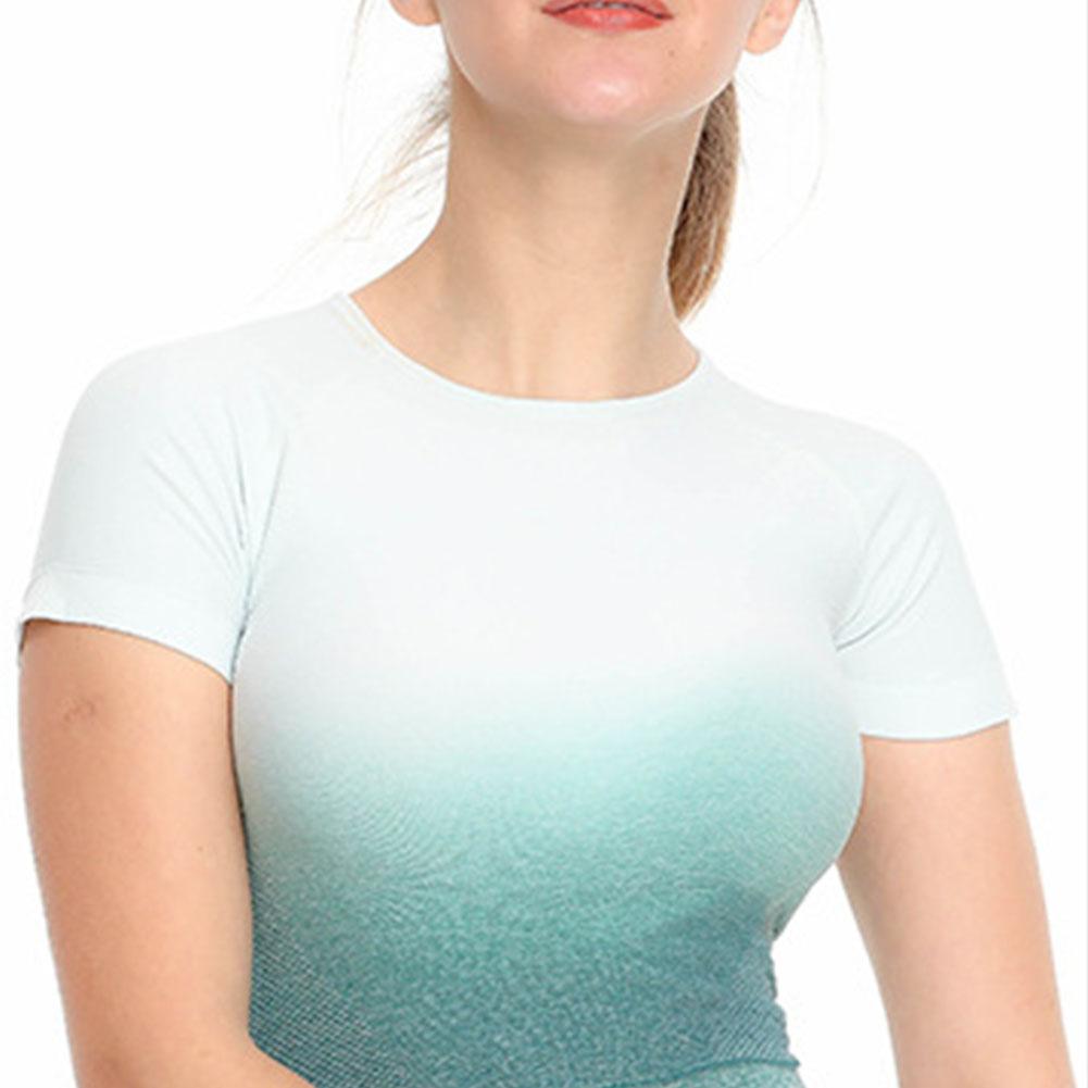 Femmes-a-manches-courtes-T-shirt-Gym-Sport-Entrainement-Yoga-Crop-Tops-Fitness-Running-SP miniature 45