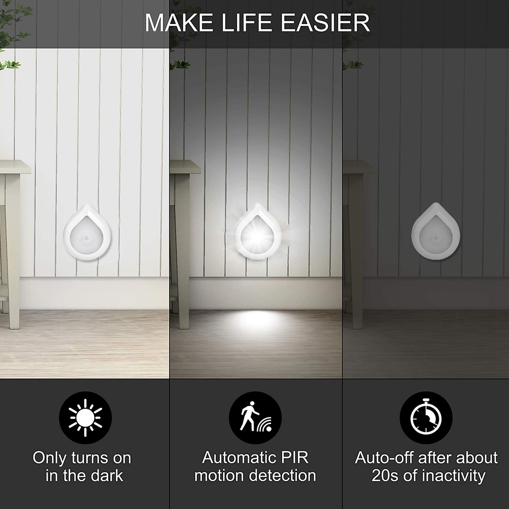 6-LED-Motion-Sensor-Light-Outdoor-Magnet-Closet-Lamp-Night-Stairs-Hallway-Light miniature 14