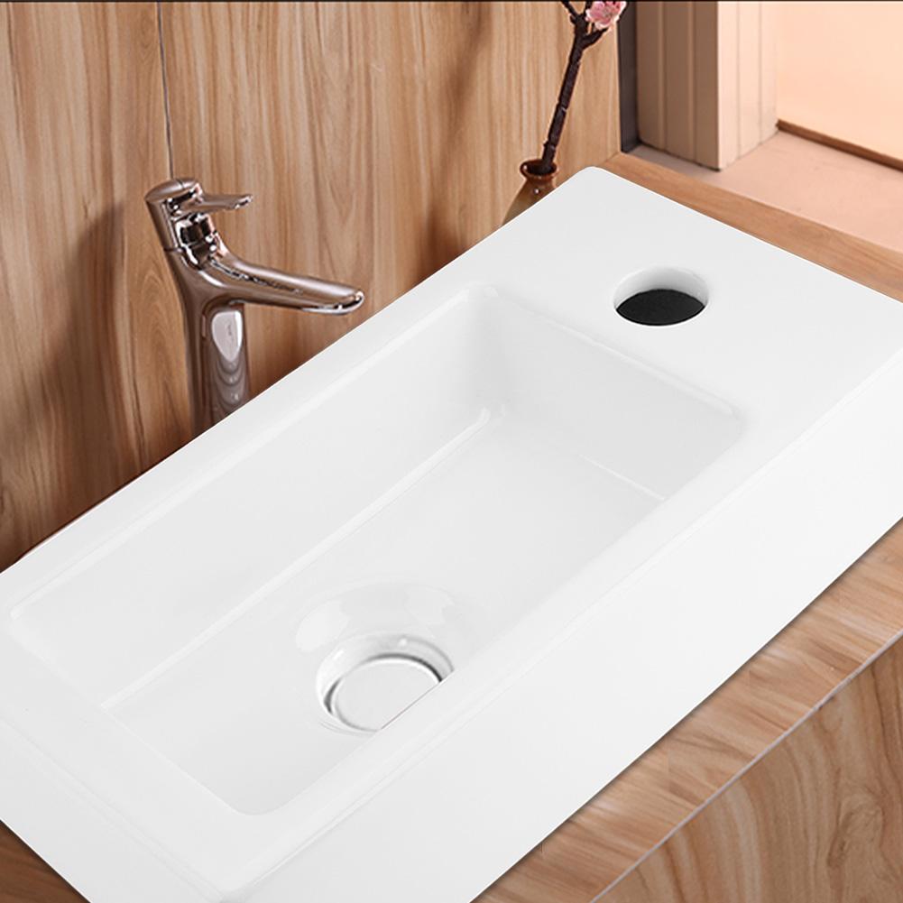 Bathroom Rectangular Porcelain Vessel Sink Above Counter Whi