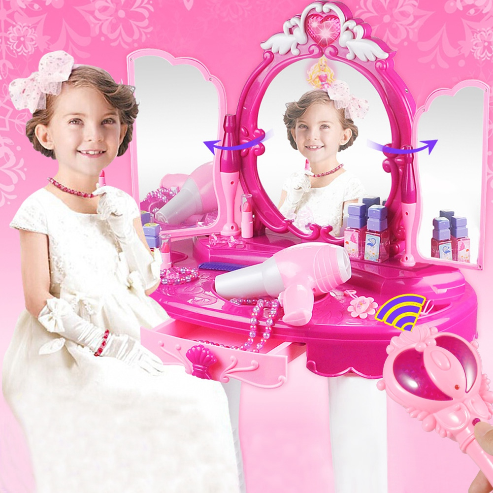 Pretend Play Vanity Set for Little Girls with Mirror and ...