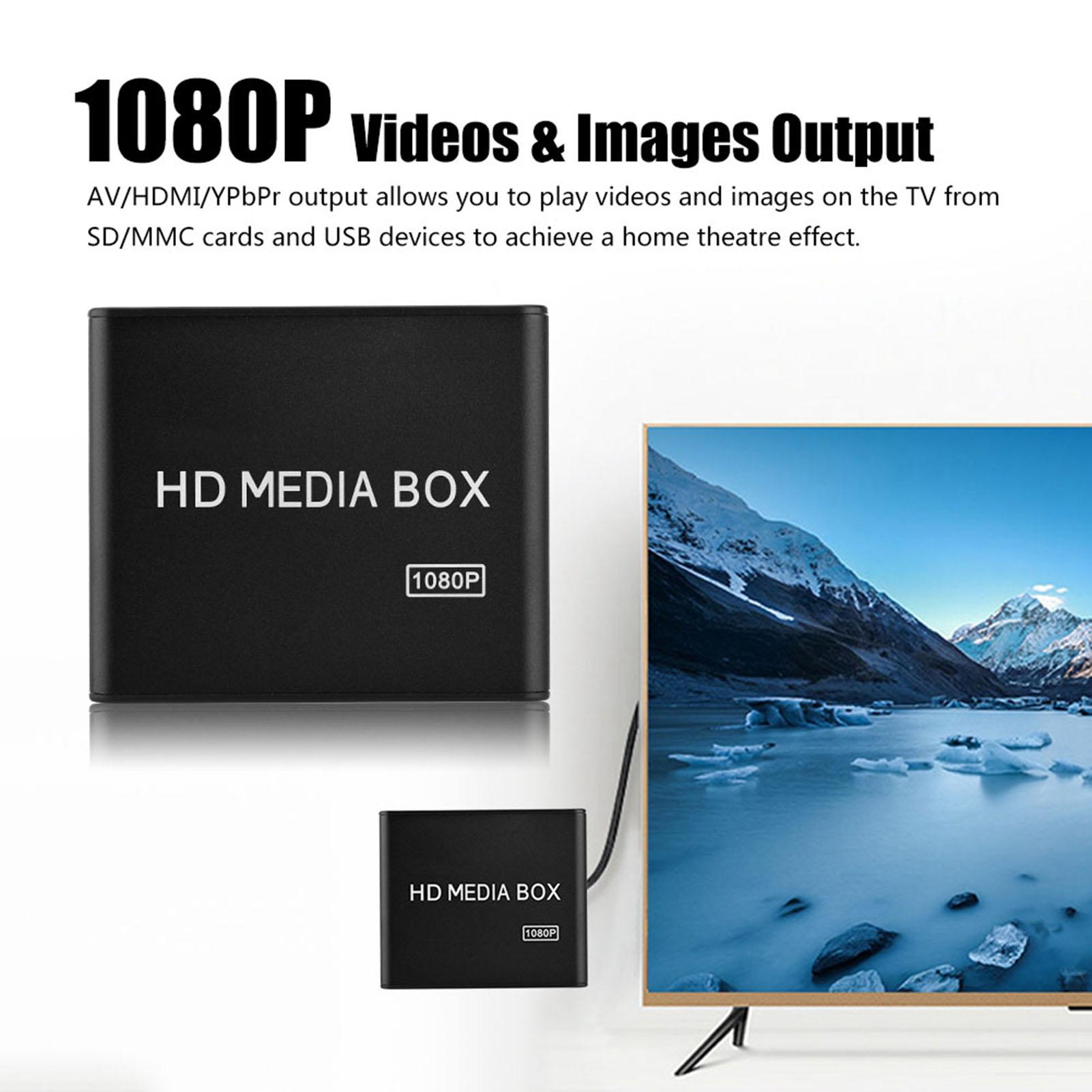 HD 1080P TV Media Player BOX USB Media With HDMI AV MMC MKV AVI MOV MP4 US Plug