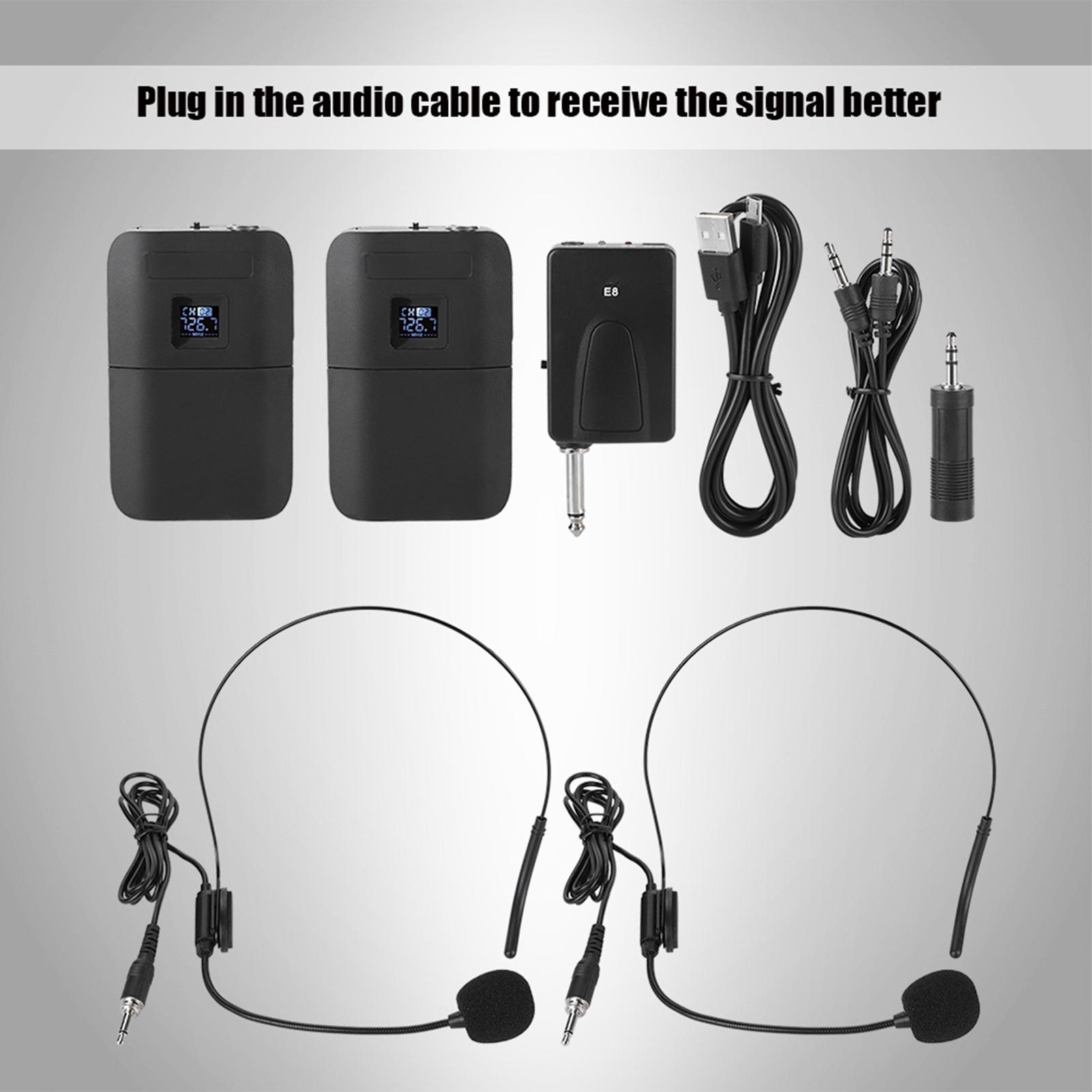 Wireless-UHF-Lavalier-Lapel-Microphone-Headset-Clip-Transmitter-Receiver-Mic-Set thumbnail 15