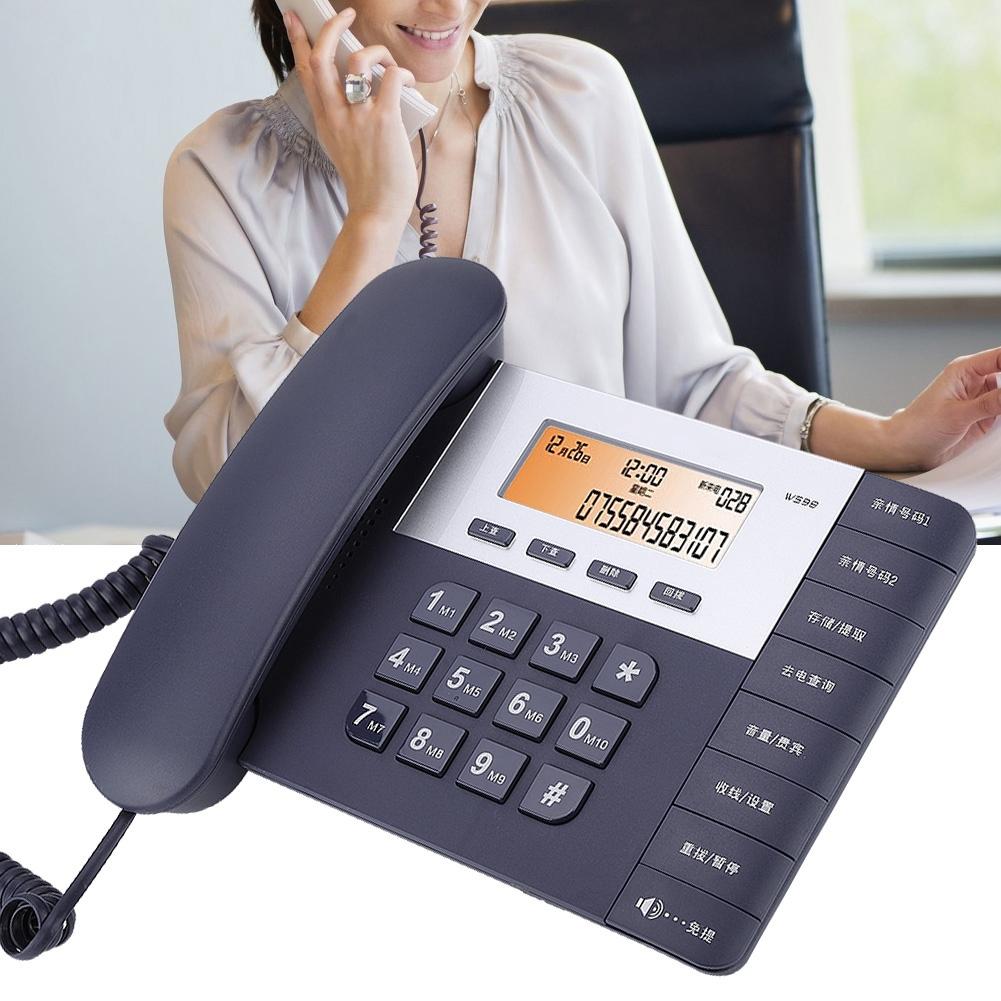 Home Fixed Corded Telephone Desktop Office Landline Call