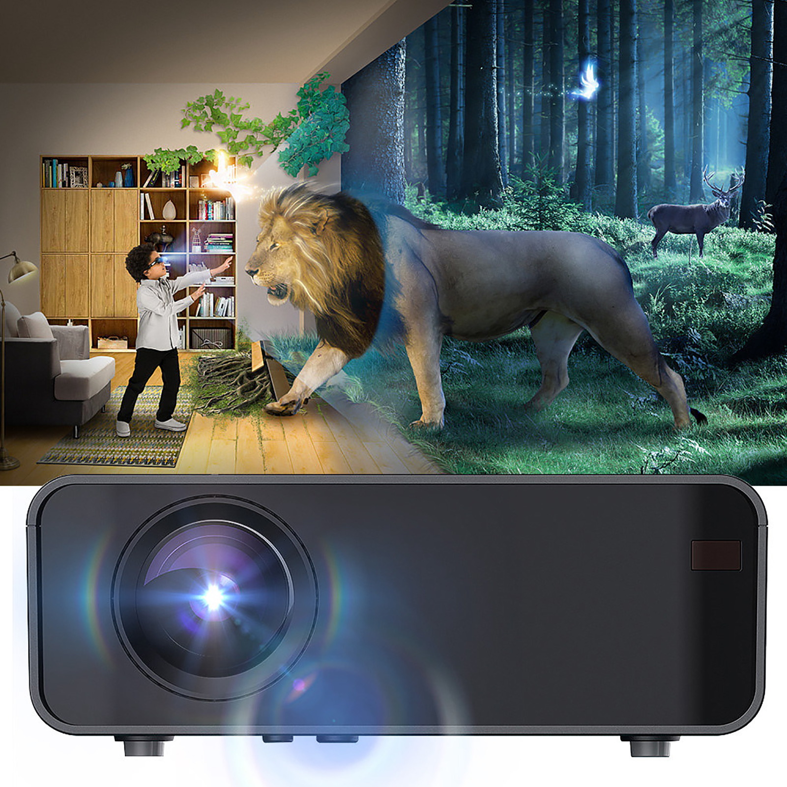 Android-4k-3d-1080p-12000-Lumen-LED-Projektor-WIFI-Bluetooth-Heimkino-Kino Indexbild 6