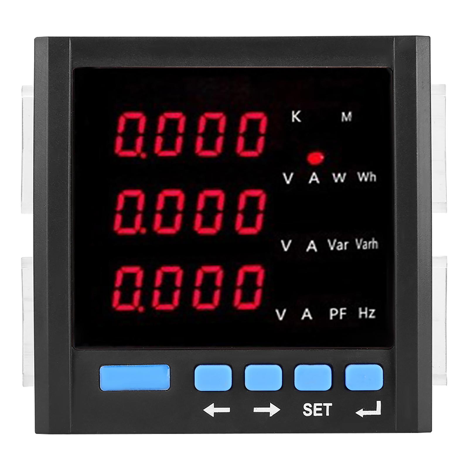 Voltm/ètre damp/èrem/ètre /à CA num/érique amp/èrem/ètre triphas/é programmable /à LED num/érique 1A//5A//10A Outils de test /électrique Voltm/ètre /à CA Noir