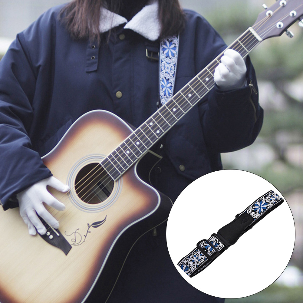 Adjustable-Soft-Strap-Embroidered-Pattern-Belt-for-Classic-Electric-Guitars-Bass thumbnail 9