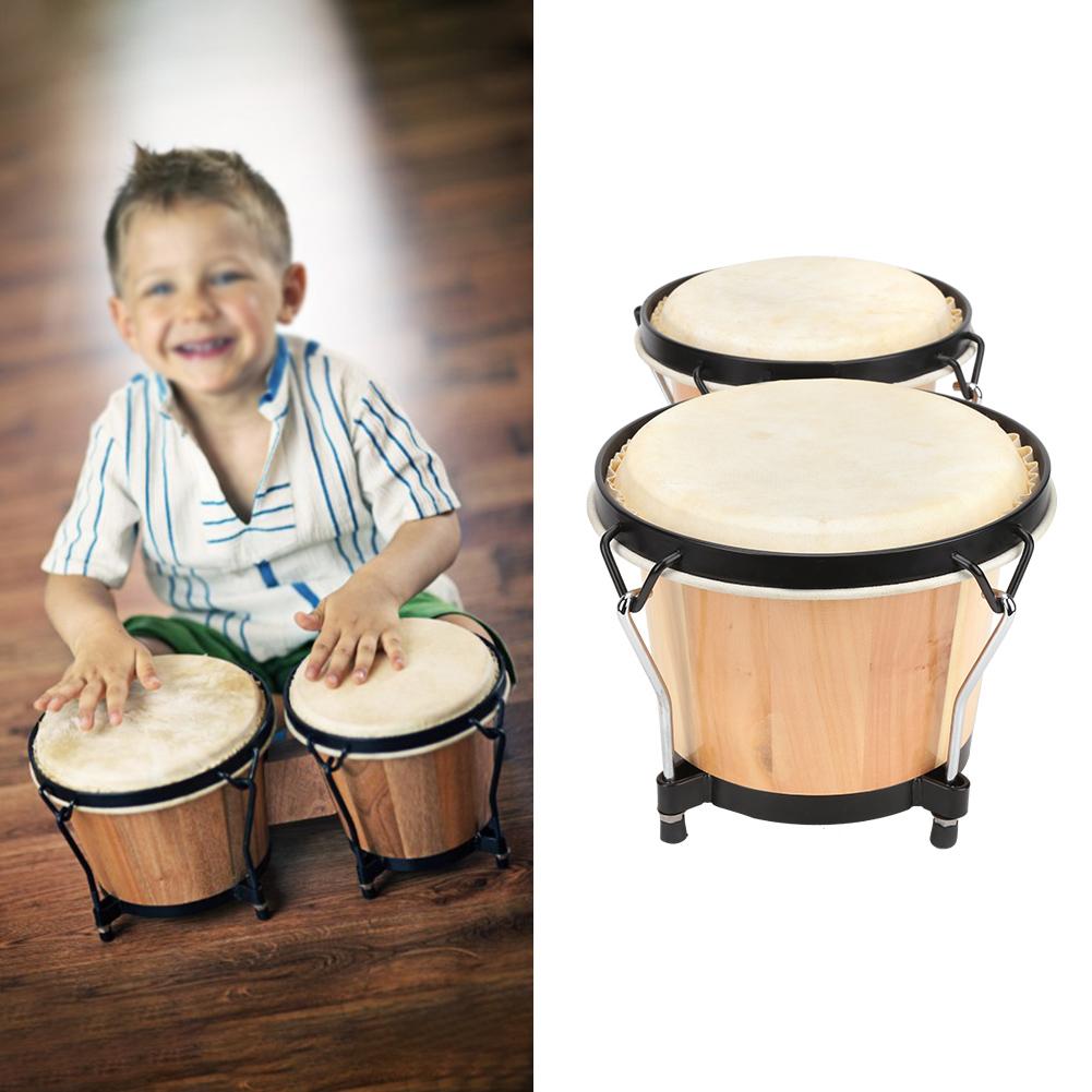 Bongo Drums-Bongo-Hand Drum-Percussion-Natural Wood-Sheepskin Skins-Musical Gift